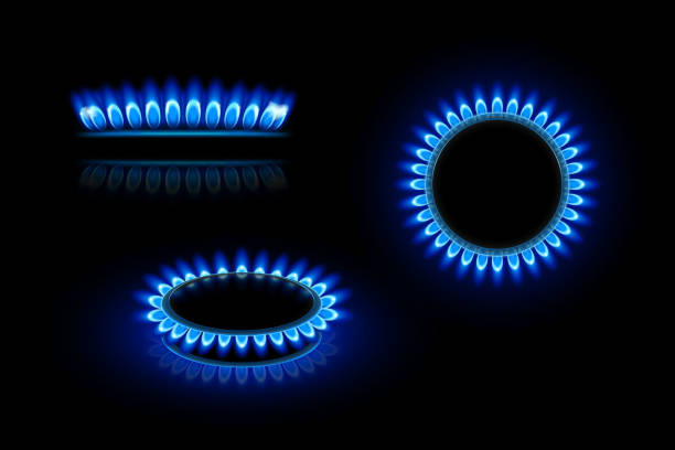gas flame illustration of gas stove in three views on dark background stove stock illustrations