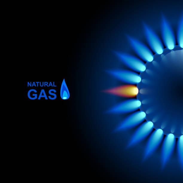 ilustraciones, imágenes clip art, dibujos animados e iconos de stock de llama del gas con reflejo azul sobre fondo oscuro. fondo de vector. eps 10 - gas