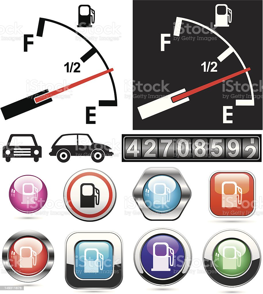 gas gauge and icons of petrol station royalty-free stock vector art