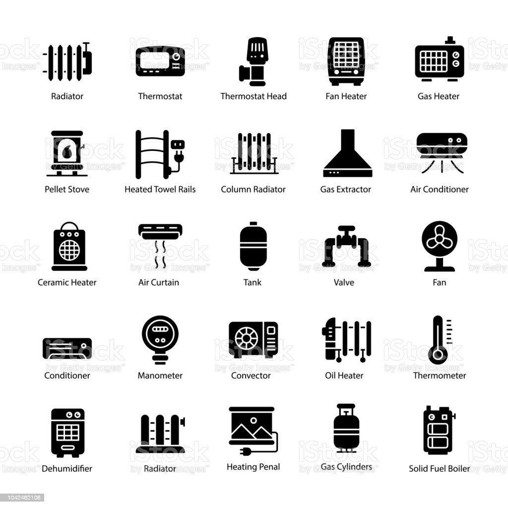 Gas Heater Glyph Vector Icons vector art illustration