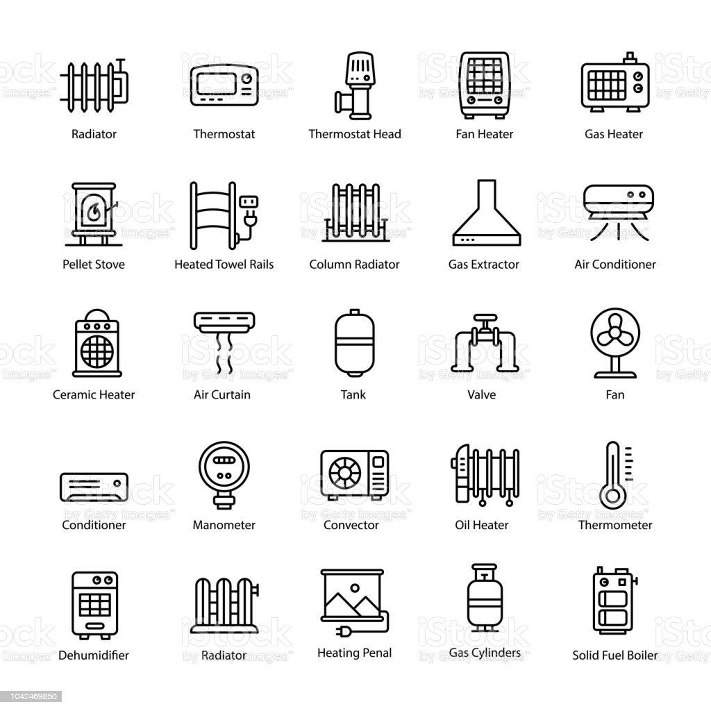 Gas Heater Line Vector Icons vector art illustration