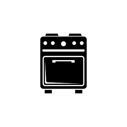 Gas Kitchen Stove, Home Electric Cooker. Flat Vector Icon illustration. Simple black symbol on white background. Gas Kitchen Stove, Electric Cooker sign design template for web and mobile UI element.