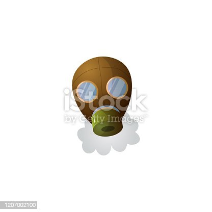 Gas mask symbolized air pollution in the city. Industrial smog.Isolated raster icon illustration on white background in cartoon style.