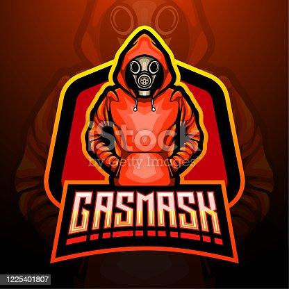 istock Gas mask esport mascot design 1225401807