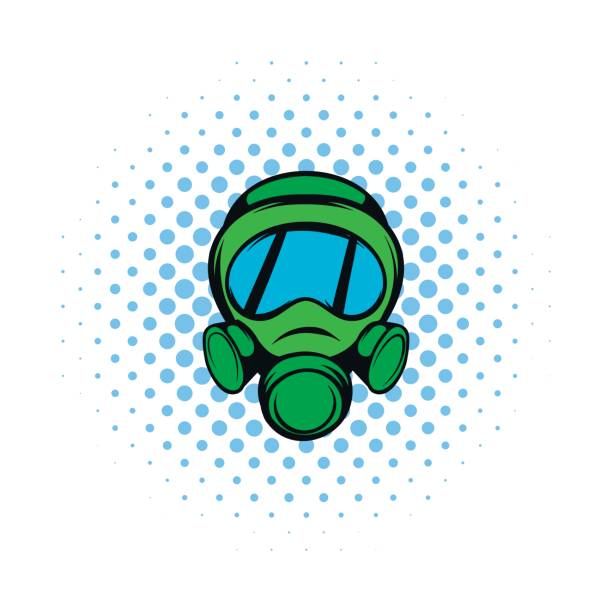 gas mask icon, comics style - cartoon of a hazmat suit stock illustrations, clip art, cartoons, & icons