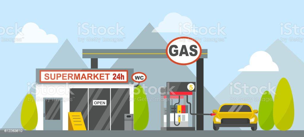 Gas oil station vector vector art illustration