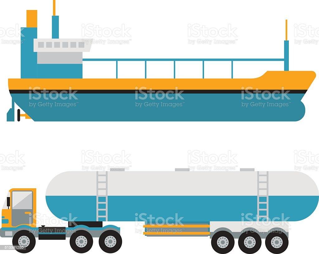Gas oil transportation van vector vector art illustration