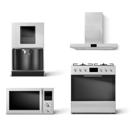 gas oven, hood, microwave and coffee machine set