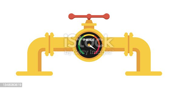 istock Gas pipe with price indicator. High price for natural gas vector illustration 1348080619