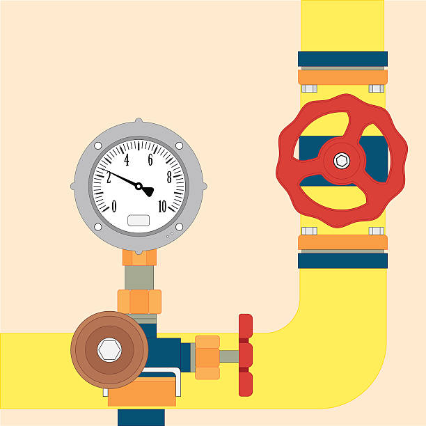 gas pipeline under control - flange stock illustrations, clip art, cartoons, & icons