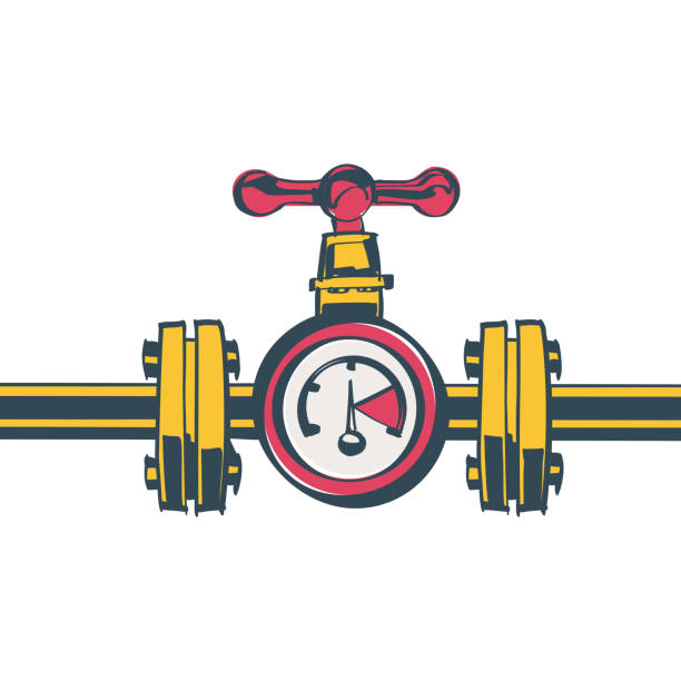 gas pipeline with a valve and a manometer vector - flange stock illustrations, clip art, cartoons, & icons