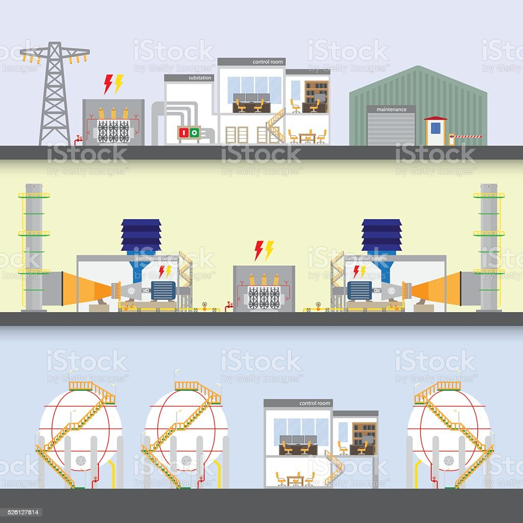 gas power plant vector art illustration