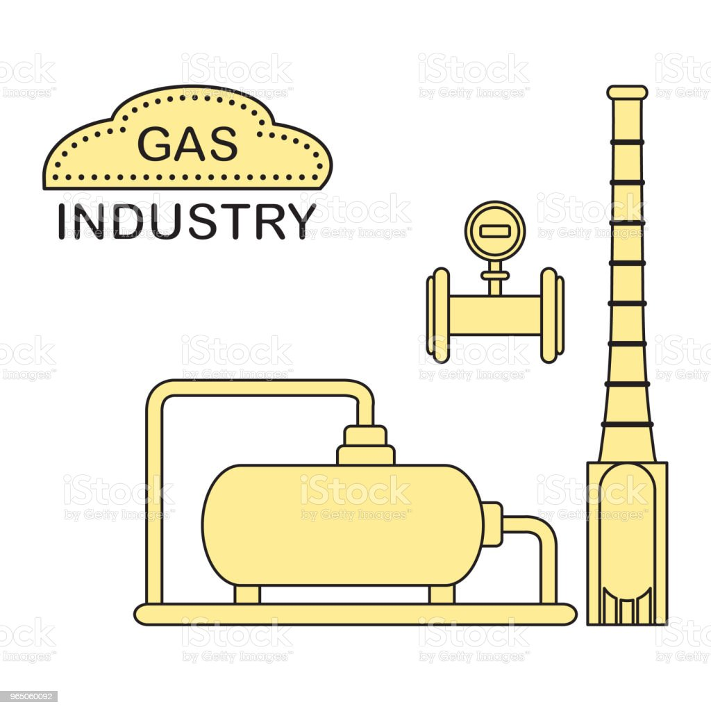 Gas processing plant. Industrial gas meter. royalty-free gas processing plant industrial gas meter stock vector art & more images of burner - stove top