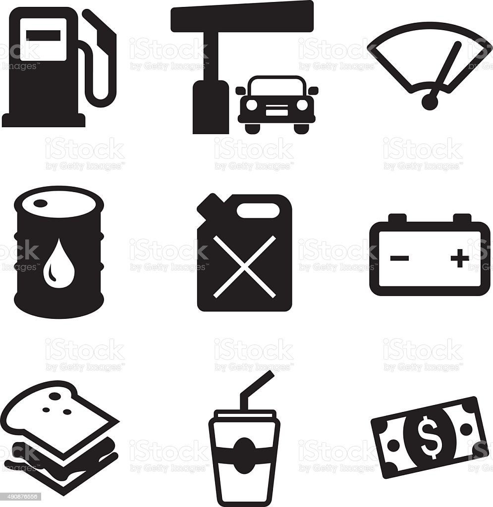 Gas Pump-Icons – Vektorgrafik
