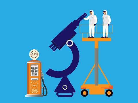 Gas pump under microscope