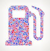 Gas Pump on U.S.A Icon Pattern