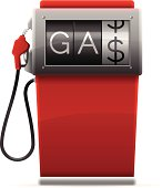 Gas pump showing high price of gasoline. EPS 10 file. Transparency used on highlight elements.