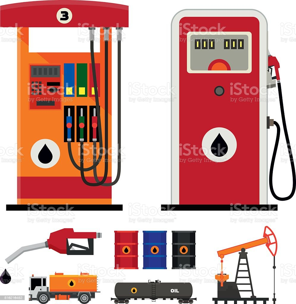 Gas pumps and flat oil industry icons vector art illustration