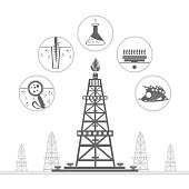 gas rig and circle icons with stages of process gas production