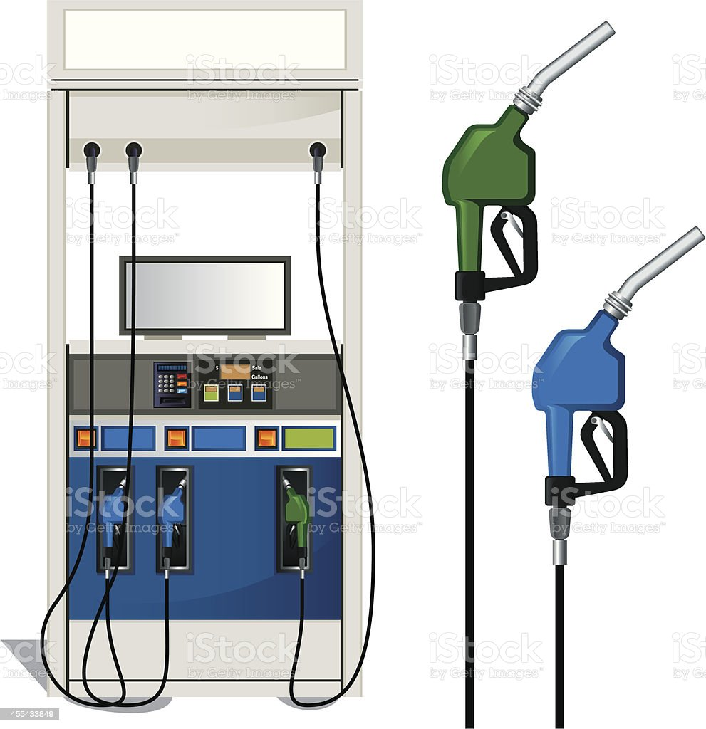 Gas Station and Fuel Pump vector art illustration