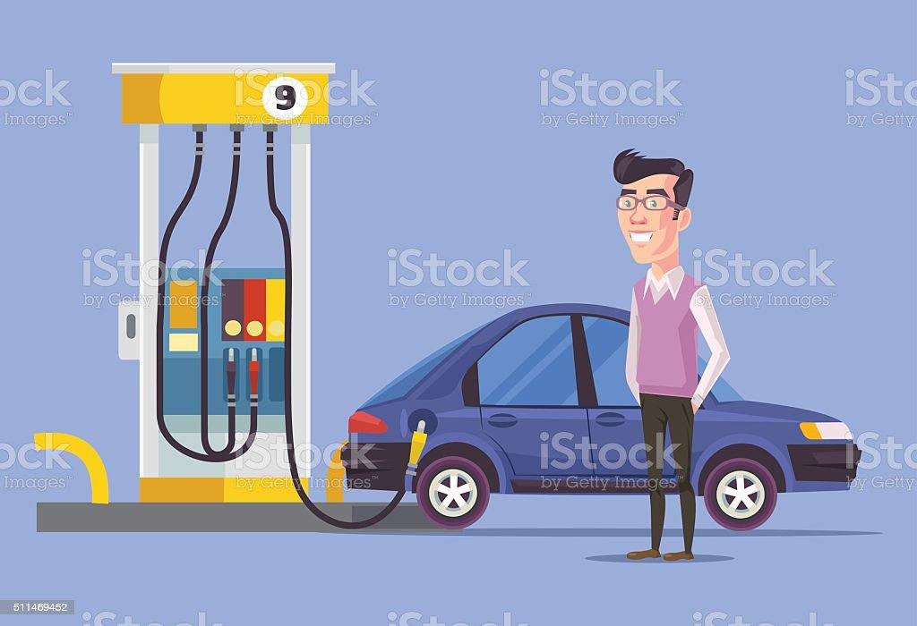 Gas station and man. Vector flat illustration vector art illustration