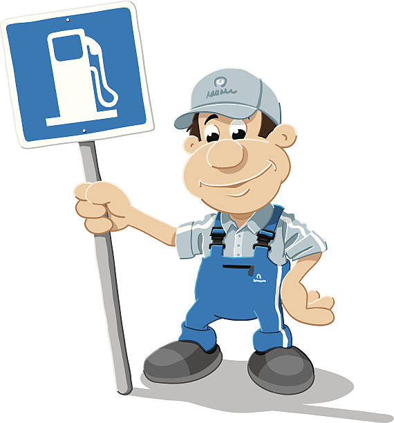 Gas Station Attendant Cartoon Man Sign Isolated Vector Illustration of a gas station attendant, who is holding a gas station sign. The illustration is on a transparent background (.eps-file). The colors in the .eps-file are ready for print (CMYK). Included files: EPS (v8) and Hi-Res JPG. cartoon people sign stock illustrations
