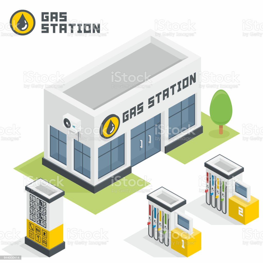Gas Station Building Stock Vector Art & More Images of