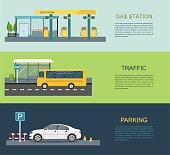 Gas station, bus stop, parking lot Vector flat illustration Transportation infographics