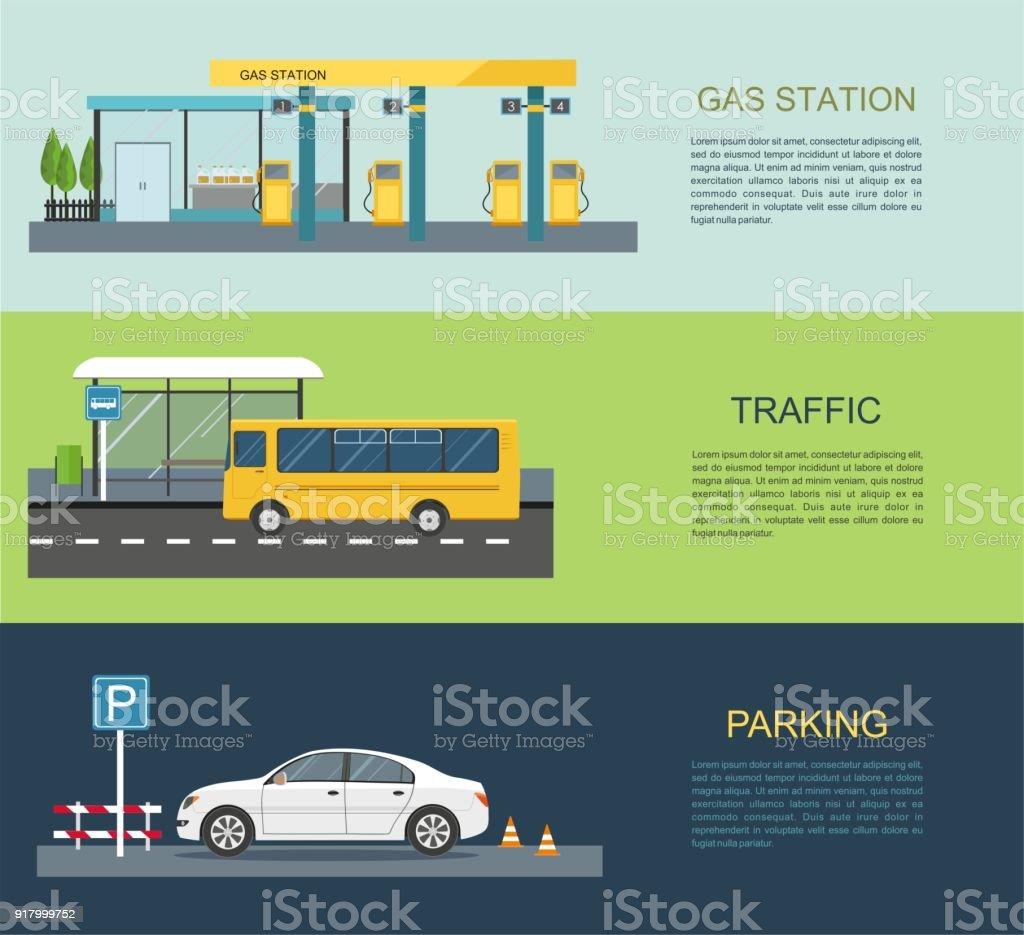 Gas station, bus stop, parking lot vector art illustration