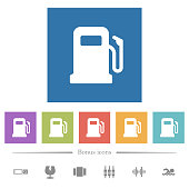 Gas station flat white icons in square backgrounds