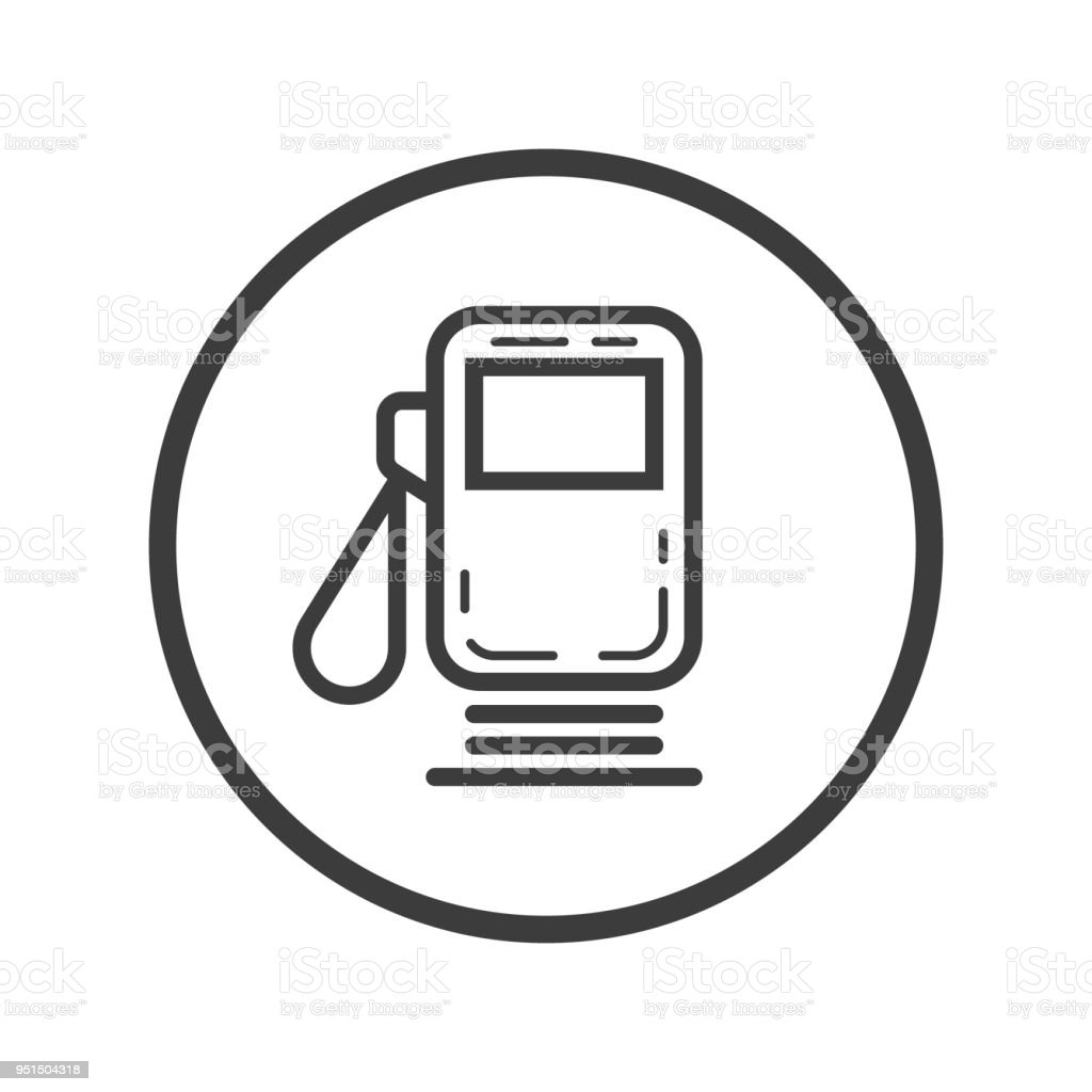 Gas Station Icon In Round Frame Stock Vector Art & More Images of ...