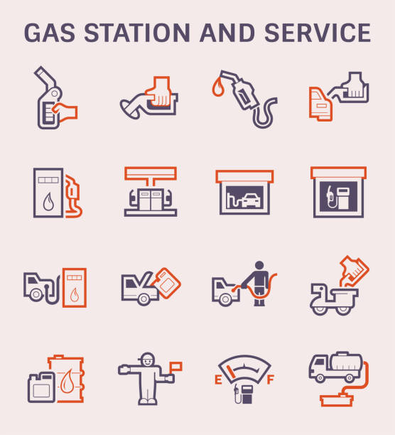 gas station icon Gas station and vehicle icon set, color and outline. station stock illustrations