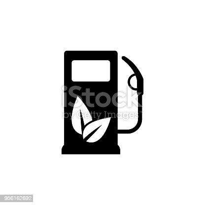 Gas Station Icon With Leaves Vector Icon Eco Fuel Symbol Stock