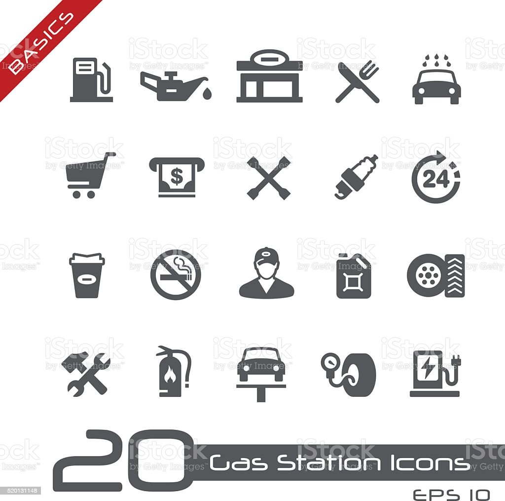 Gas Station Icons - Basics vector art illustration