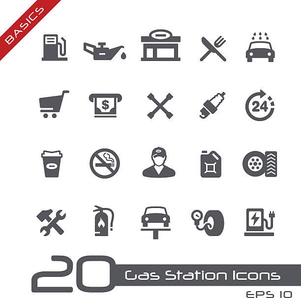 Gas Station Icons - Basics vector art illustration