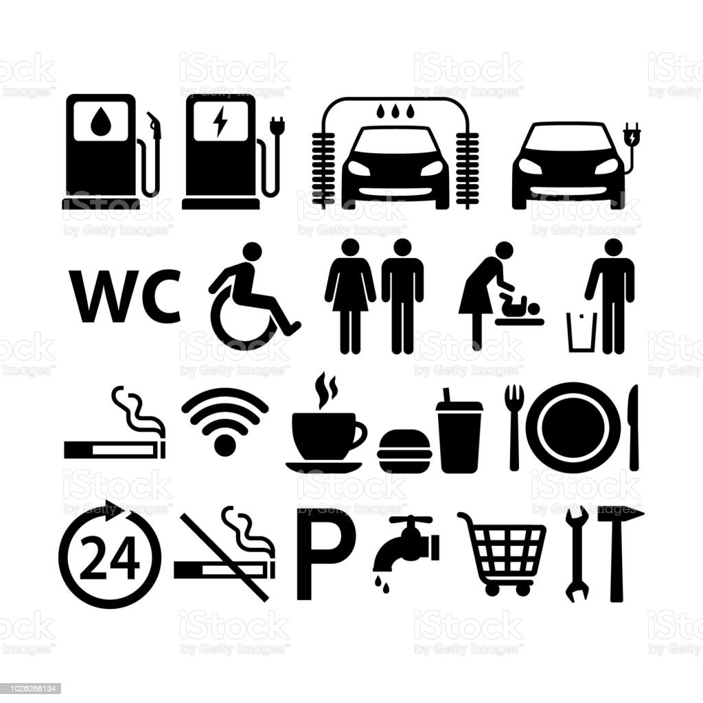 Gas Station Icons Set Gas Station Black Isolated Symbols Fuel