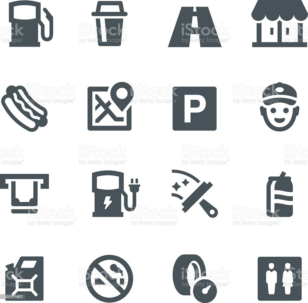 Gas Station Icons vector art illustration
