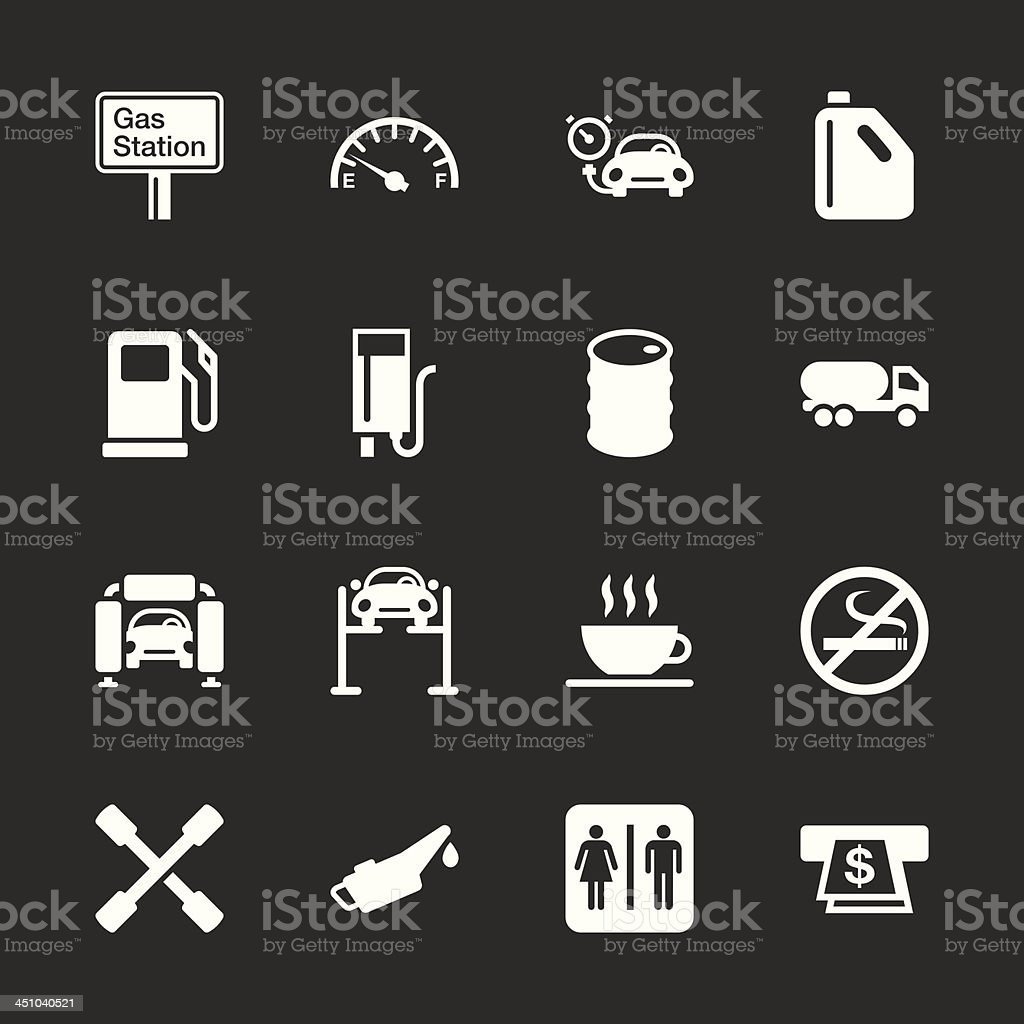 Gas Station Icons - White Series | EPS10 royalty-free stock vector art