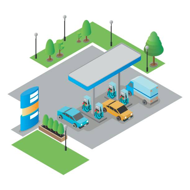 Gas station isometric vector illustration. Gas station, petrol station, gasoline. isolated vector illustration. station stock illustrations
