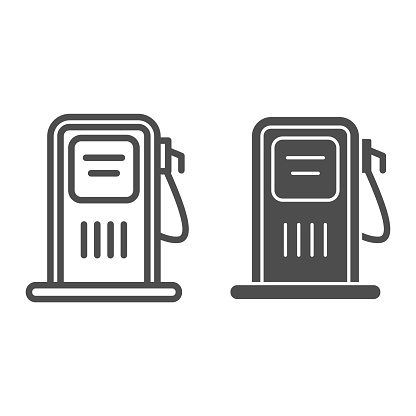 Gas station line and solid icon, transportation symbol, petrol refill station vector sign on white background, Gas pump with fuel nozzle icon in outline style mobile concept and web. Vector graphics.
