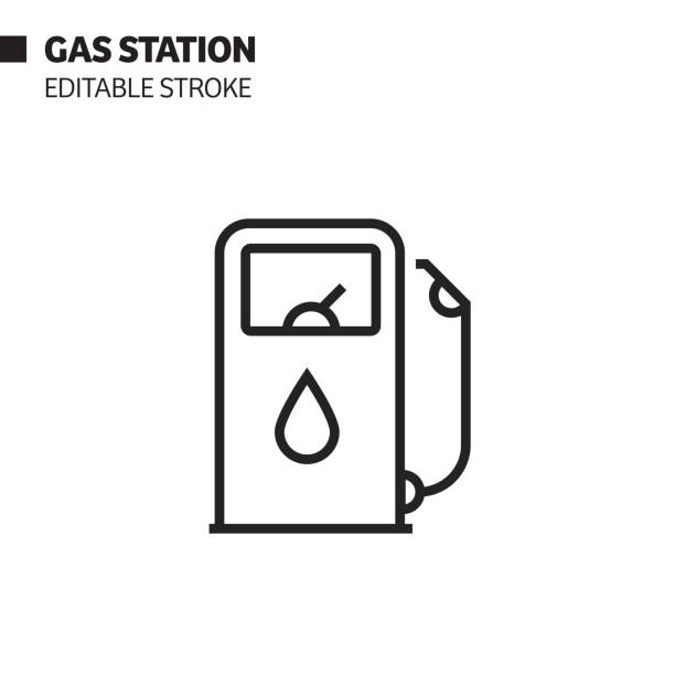 illustrazioni stock, clip art, cartoni animati e icone di tendenza di gas station line icon, outline vector symbol illustration. pixel perfect, editable stroke. - benzina