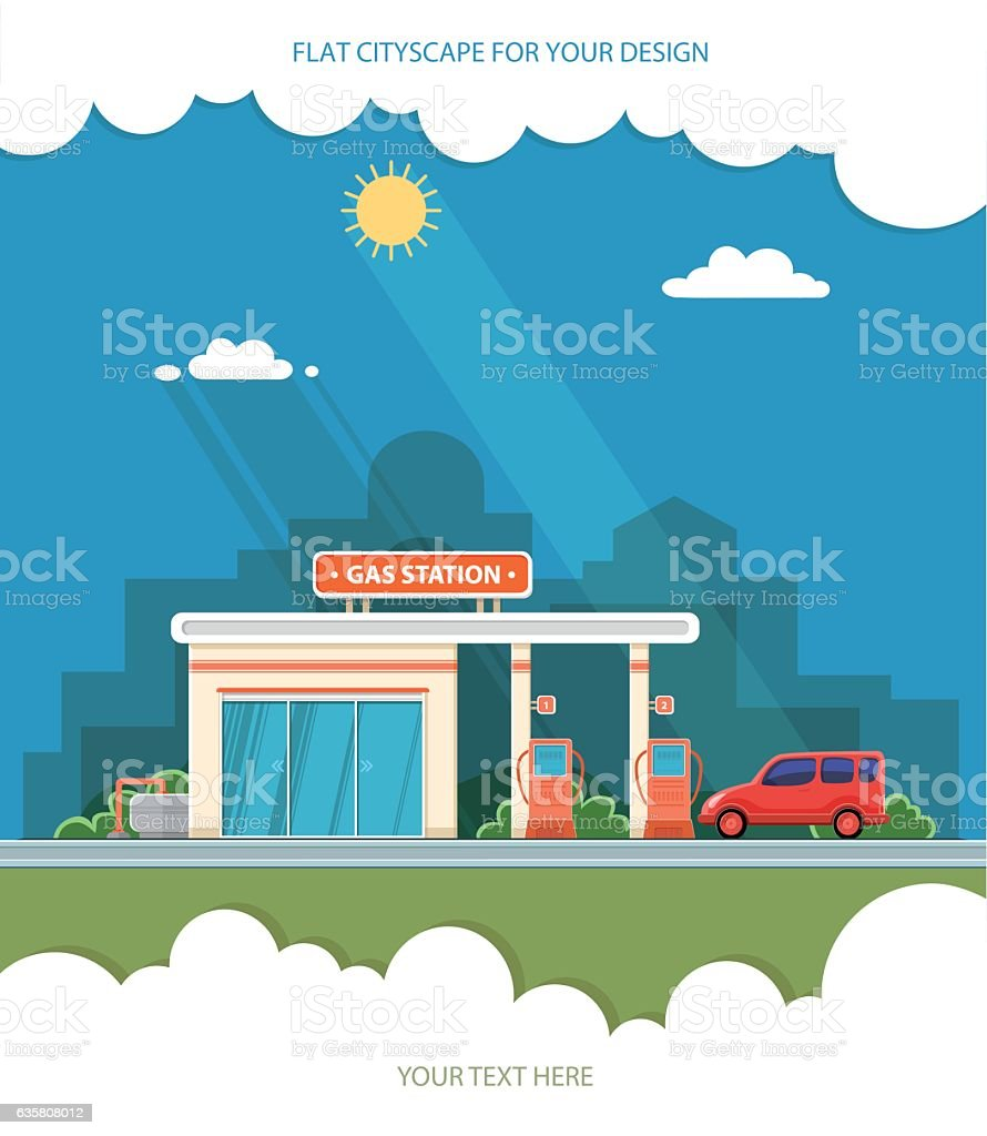 Gas station. Oil, fueling petrol with shop. Red car vector art illustration