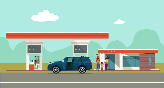 Gas station on the background of the countryside landscape and a car with african family. Vector flat style illustration.