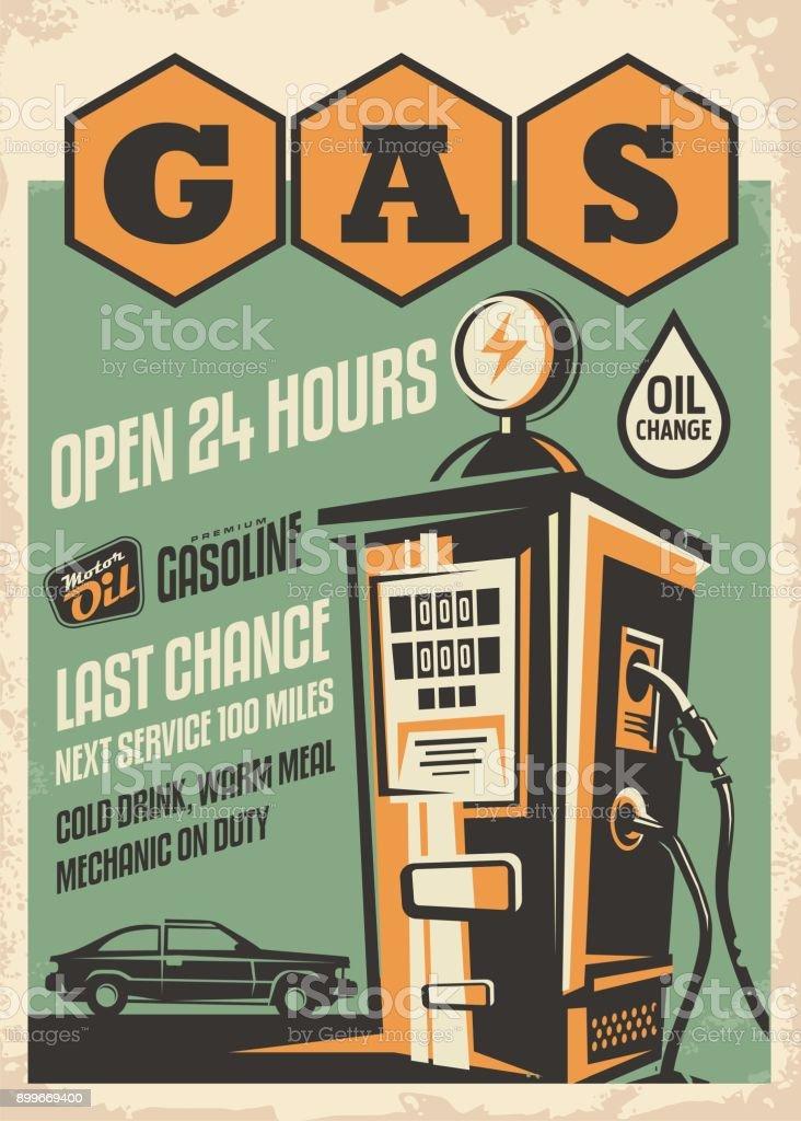 Gas station retro poster design vector art illustration