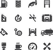 Gas Station Silhouette icons | EPS10