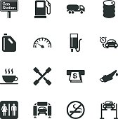 Gas Station Silhouette Vector File Icons.