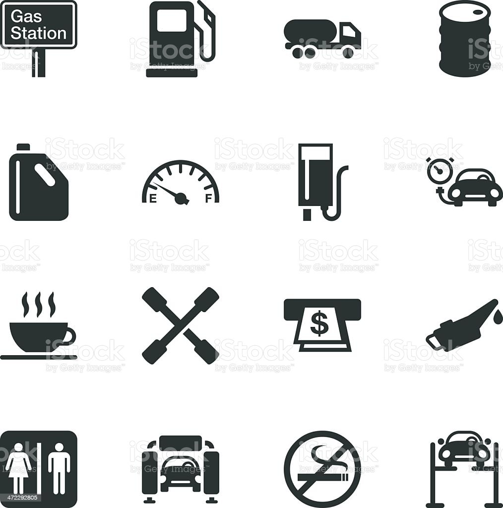 Gas Station Silhouette Icons vector art illustration