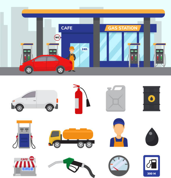 ilustrações, clipart, desenhos animados e ícones de estação de gás combustível da gasolina vetor ou gasolina e diesel para abastecer o conjunto de ilustração de carros de transporte reabastecer ícones isolados no fundo branco - garage