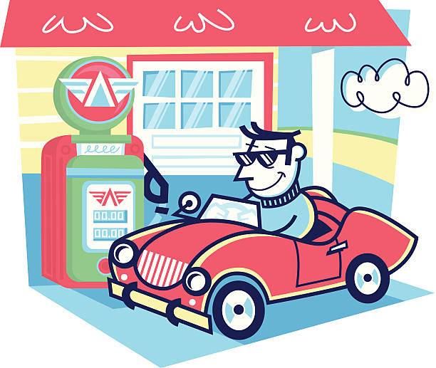 gas station - peter bajohr stock illustrations, clip art, cartoons, & icons