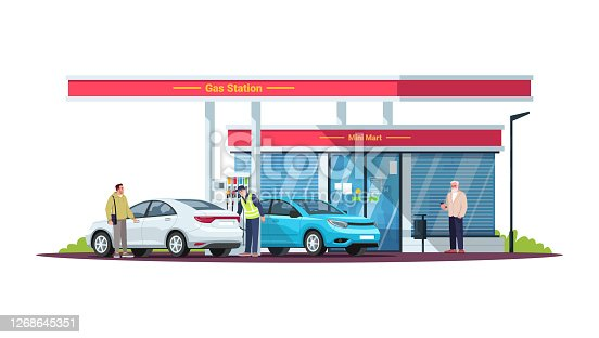 istock Gas station with people semi flat RGB color vector illustration 1268645351